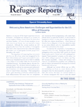 Refugee Reports: Special Citizenship Issue. Volume 25, Number 7