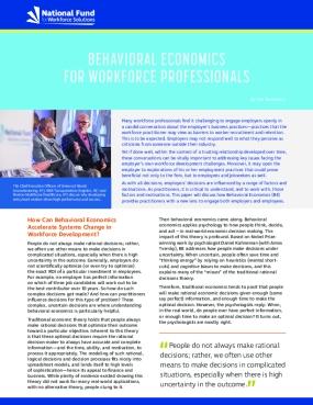 Behavioral Economics for Workforce Professionals