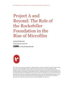 Project A and Beyond: The Role of the Rockefeller Foundation in the Rise of Microfilm