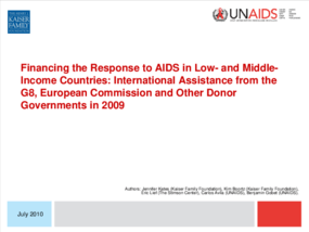 Financing the Response to AIDS in Low-and Middle-Income Countries: International Assistance from the G8, European Commission and Other Donor Governments in 2009