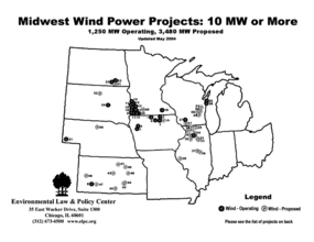 Midwest/Great Plains Wind Power Project Map