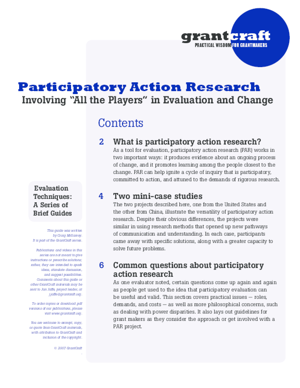Participatory Action Research: Involving All the Players in Evaluation and Change