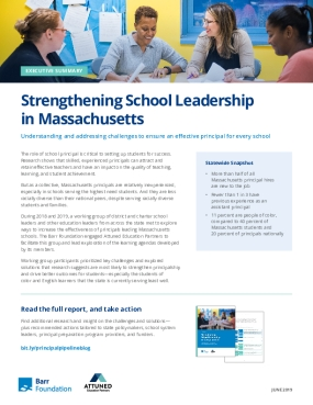 Strengthening School Leadership in Massachusetts Executive Summary