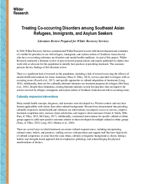 Treating Co-Occurring Disorders among Southeast Asian Refugees, Immigrants, and Asylum Seekers